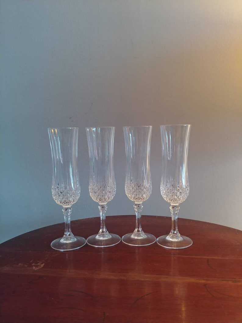 Crystal champagne flutes set of 4 New Years barware image 0