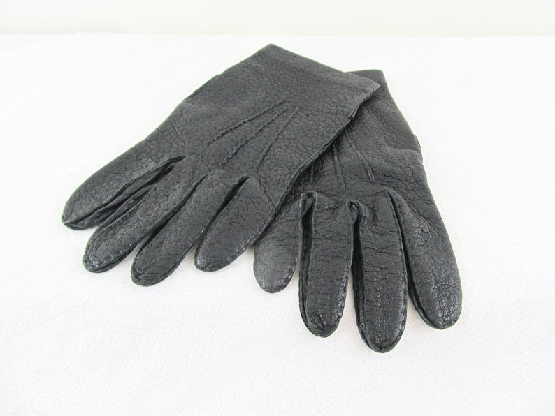 Vintage black peccary leather gloves for men size 9 1/4 Louis image 0