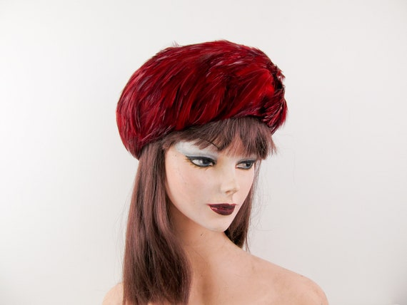 1960s red feather pillbox hat