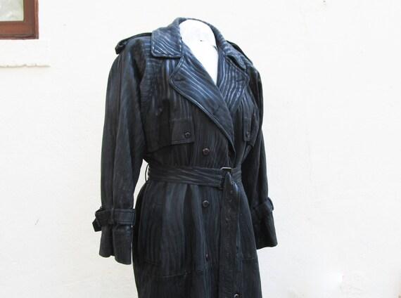 Black leather trench coat by Originaux Par Pablo -