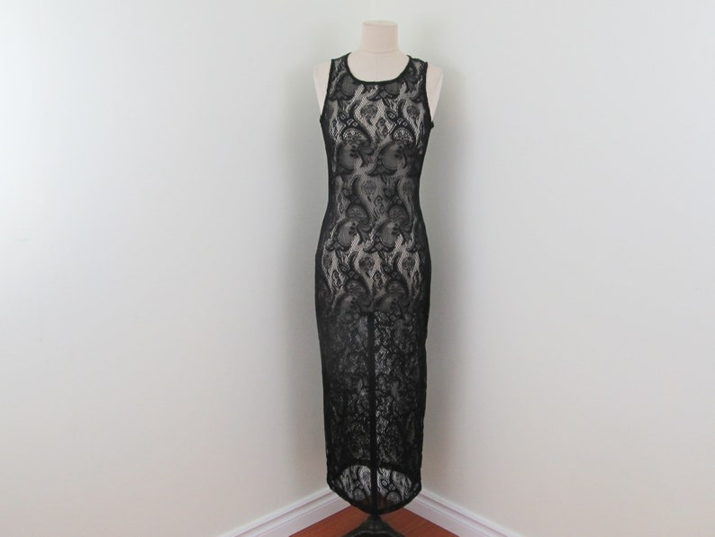 Sunfire black lace evening gown pagan witch gothic black lace image 0