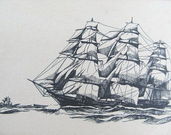 Vintage etching of a sailing ship, artist print of a schooner