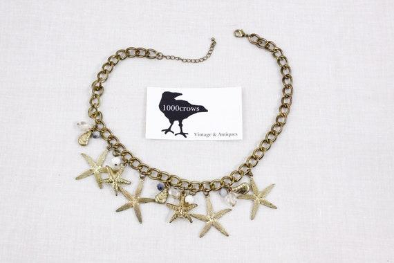 Chunky seashell starfish necklace, statement costu