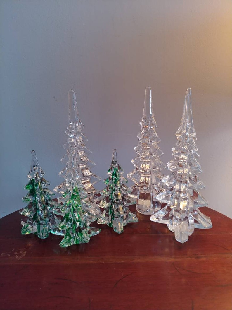 Glass Christmas tree forest vintage holiday decor image 0