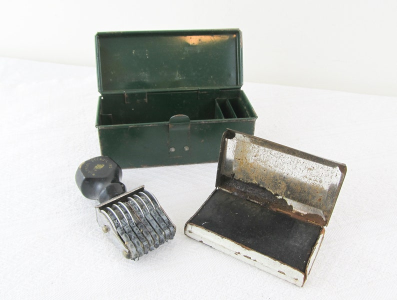 Vintage Green metal box with stamp and ink pad image 0