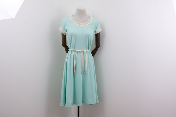 Pastel summer dress in mint green, pink and yellow