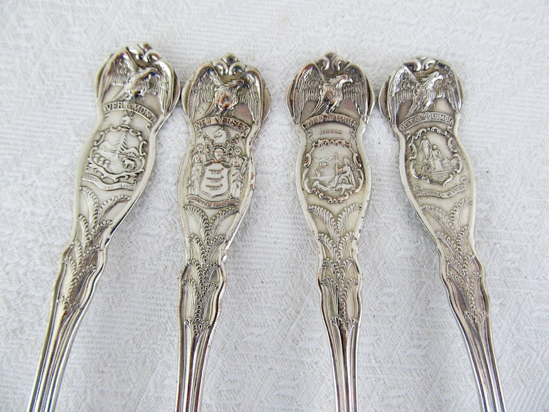 Vintage USA State spoons wm Rogers and Son AA American Eagle image 0