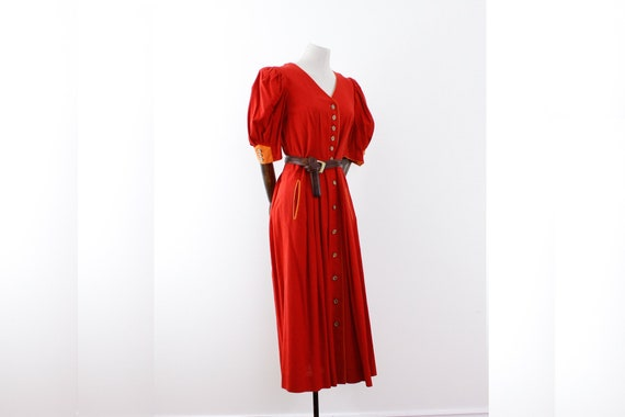 Red linen and cotton dress for larp or medieval re