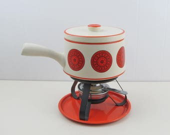 Vintage fondue set, retro fondue pot, 1970s funky beige and orange ceramic fondue pot for chocolate or cheese
