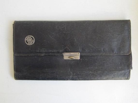 Ancien dossier de voyage en cuir, stockage de gant, rangement des accessoires, portefeuille de voyage en cuir, pochette en cuir vintage, monogramme lui / HMI / IMH
