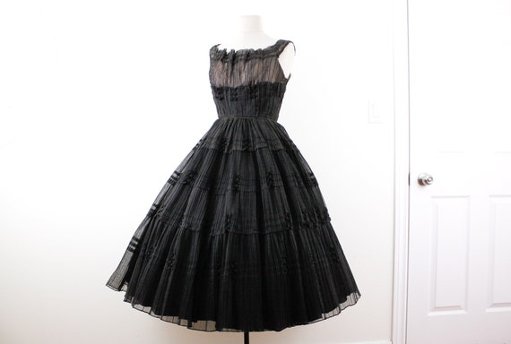 "1950s black tulle evening dress by Rappi W 23"", vi"