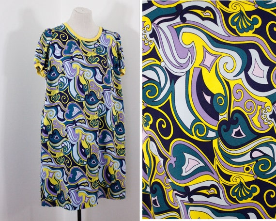 1960s mini dress, blue yellow psychedelic dress, b
