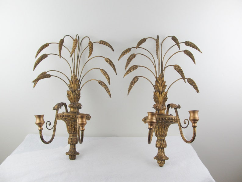 MCM Italian wheat sconces carved wood and toleware candle image 0