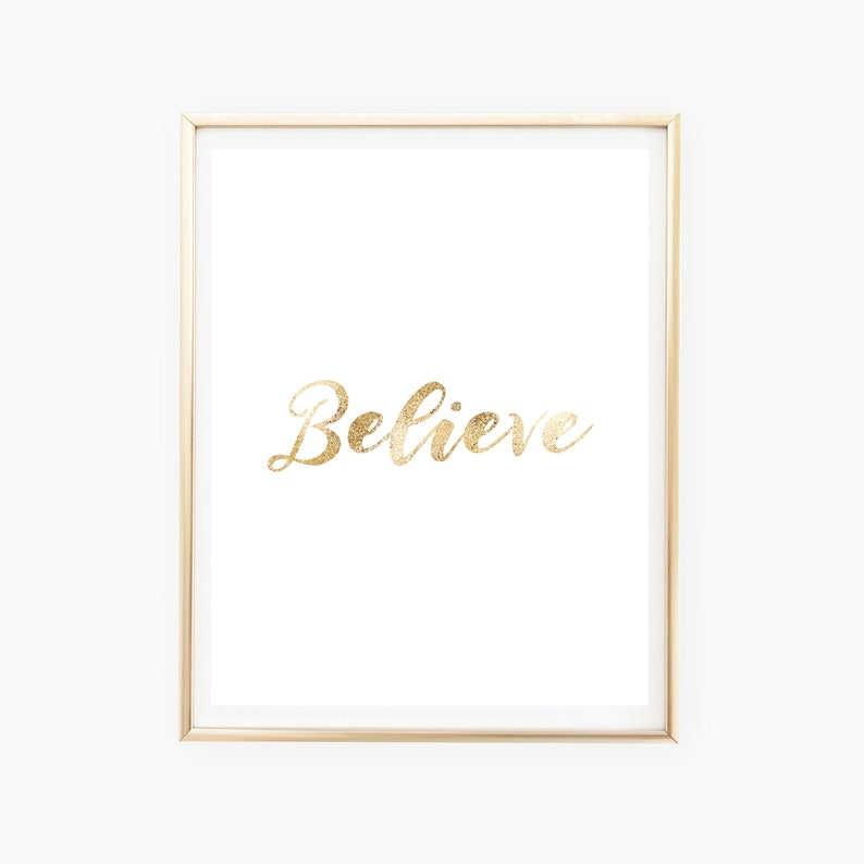 Gold Believe Printable Gold Christmas Printable Gold Believe image 0