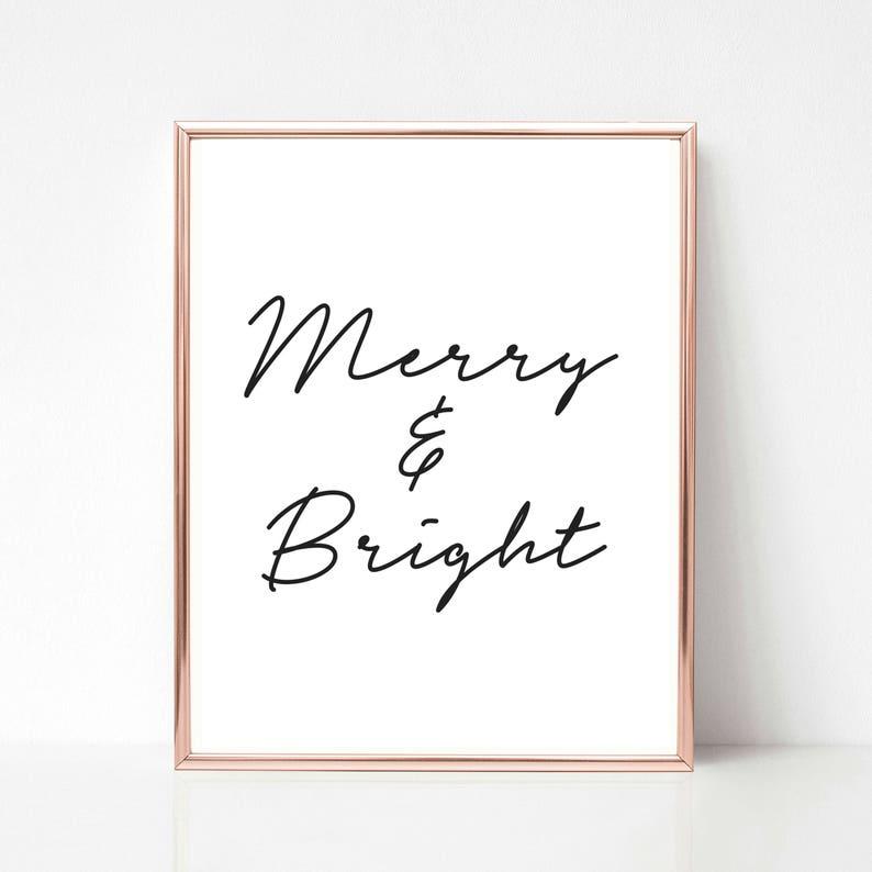 Merry and Bright Print Christmas Printable Wall Art Merry image 0