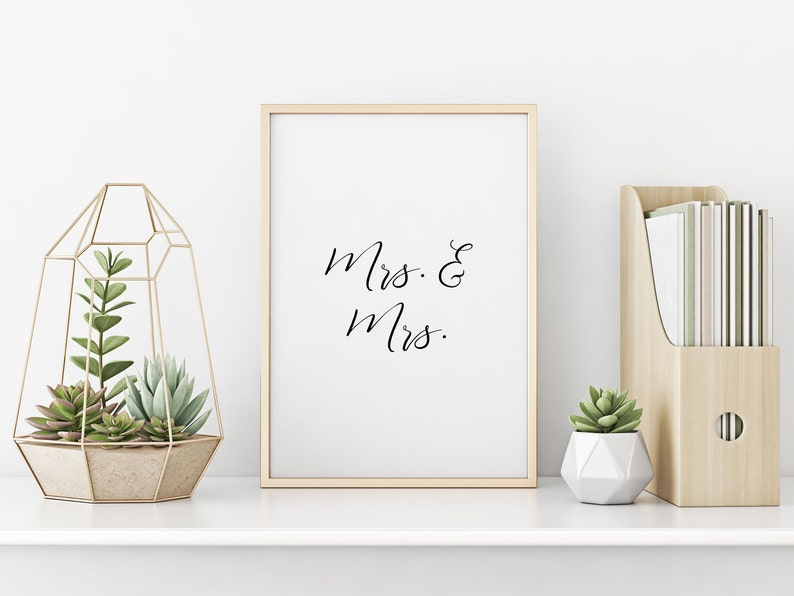 Mrs and Mrs Wall Art Printable Quote Prints Printable Wall image 0