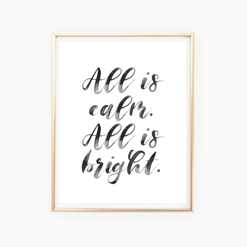 All is Calm All is Bright Holiday Print Christmas Printables image 0