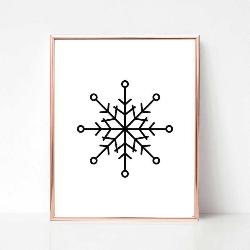 Black and White Snowflake Print Winter Wall Art Holiday image 0