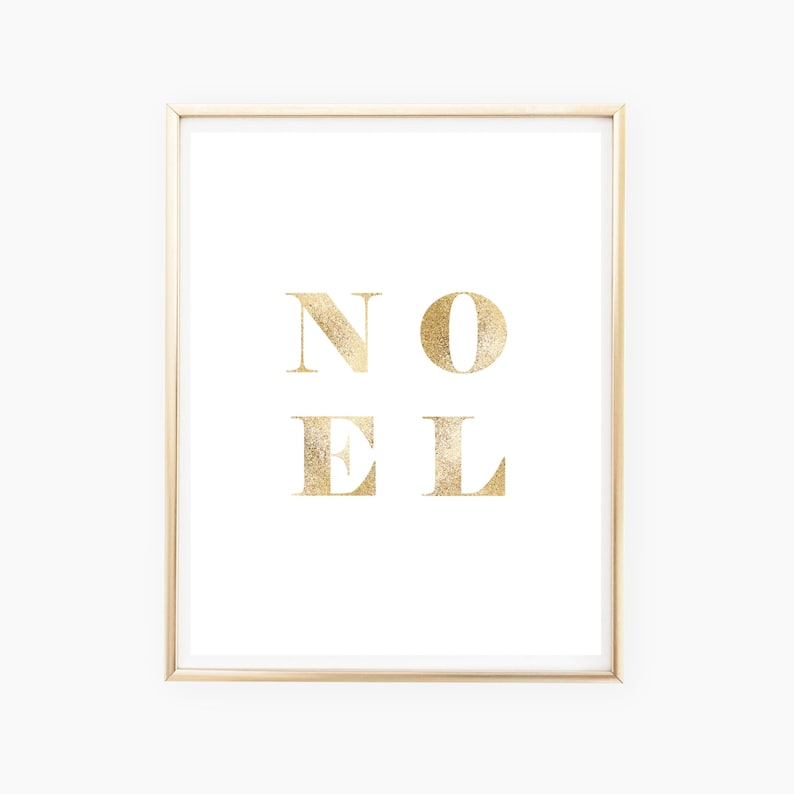 Gold Noel Christmas Printable Gold Noel Sign Gold Christmas image 0
