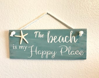The beach is my happy place starfish distressed beach hanging wood sign | reclaimed pallet wood home decor