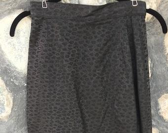 Black Suede Pencil Skirt in Animal Print