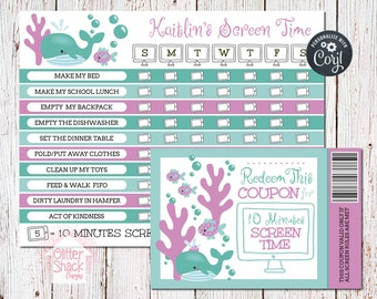 Ocean Screen Time Reward Chart & Coupons