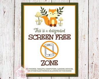 Woodland Fox Screen-Free Zone Sign
