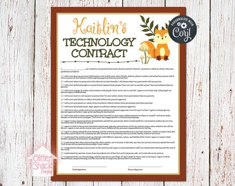 Woodland Fox Technology Use Contract For Kids