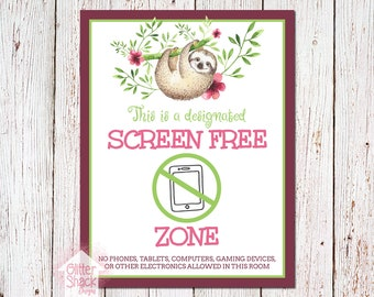 Tropical Sloth Screen-Free Zone Sign