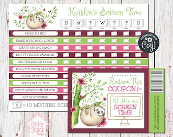 Tropical Sloth Screen Time Reward Chart & Coupons