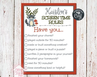 Woodland Raccoon Personalized Screen Time Rules