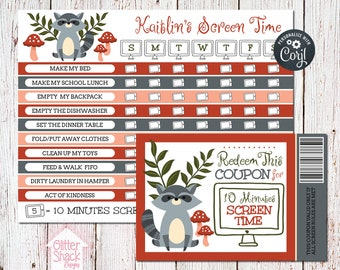 Woodland Raccoon Screen Time Reward Chart & Coupons