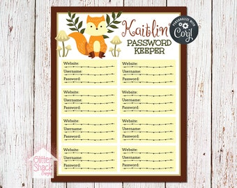 Woodland Fox Password Tracker