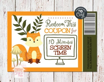 Woodland Fox Printable Reward Coupons
