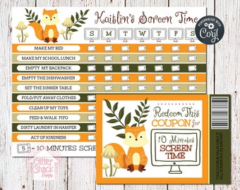 Woodland Fox Screen Time Reward Chart & Coupons