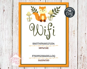 Woodland Fox Wifi Password Sign