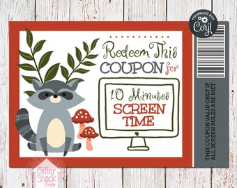 Woodland Raccoon Printable Reward Coupons