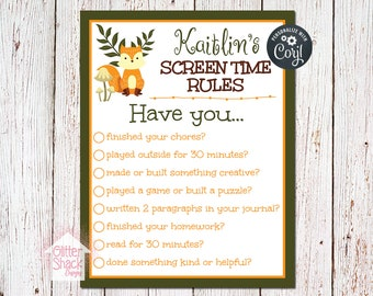 Woodland Fox Personalized Screen Time Rules