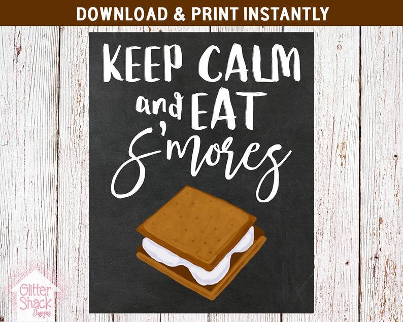 Keep Calm And Eat S'mores Chalkboard Sign PRINTABLE Wall image 0