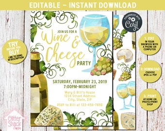 Wine And Cheese Party Invitation, Wine Tasting Party, Wine And Cheese Invitation, Adult Party Invite, Holiday Party, EDIT & PRINT INSTANTLY
