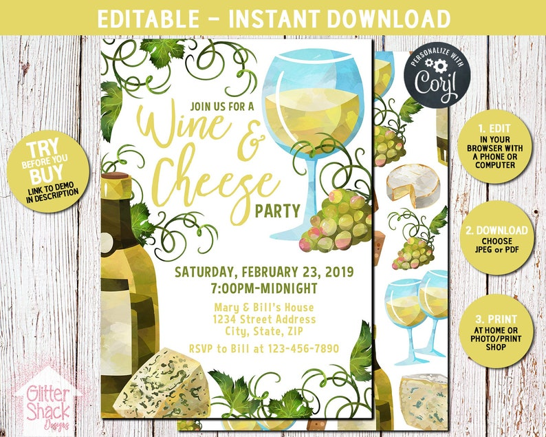 Wine And Cheese Party Invitation Wine Tasting Party Wine And image 0