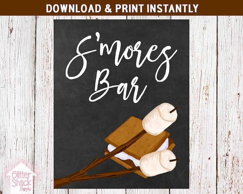 S'mores Bar Chalkboard Sign PRINTABLE S'mores Bar image 0