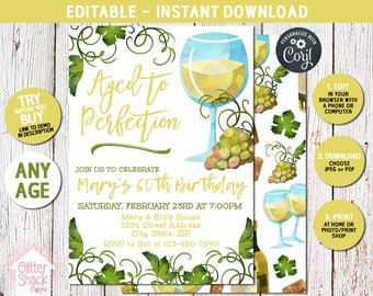 Aged To Perfection Birthday Invitation, 50th, 60th, 70th, 80th Adult Birthday Invite, Wine Invitation, Wine Party, EDIT & PRINT INSTANTLY