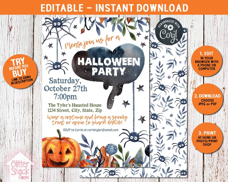 Halloween Invitations PRINTABLE Halloween Party Invitations image 0