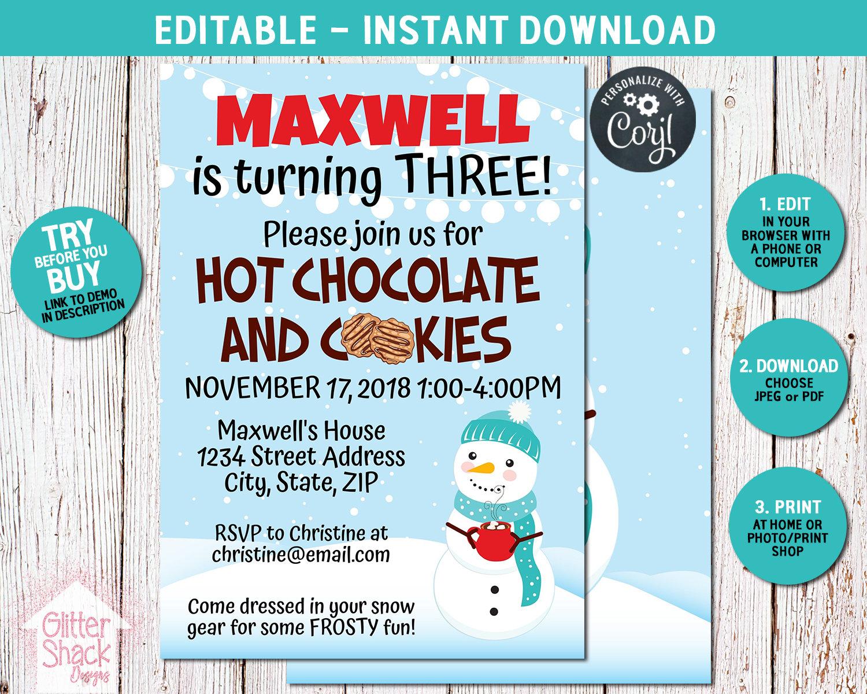 Hot Chocolate Invitation Hot Chocolate Party Hot Cocoa Etsy