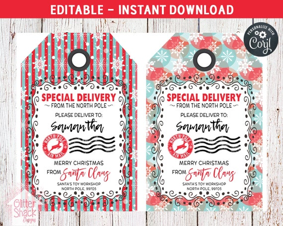 picture regarding Printable Santa Gift Tags identified as Santa Present Tags, EDITABLE Towards Santa Present Tags, PRINTABLE Xmas Reward Tags, Trip Reward Tags, Santa Tags, North Pole Tags, Christmas Tags