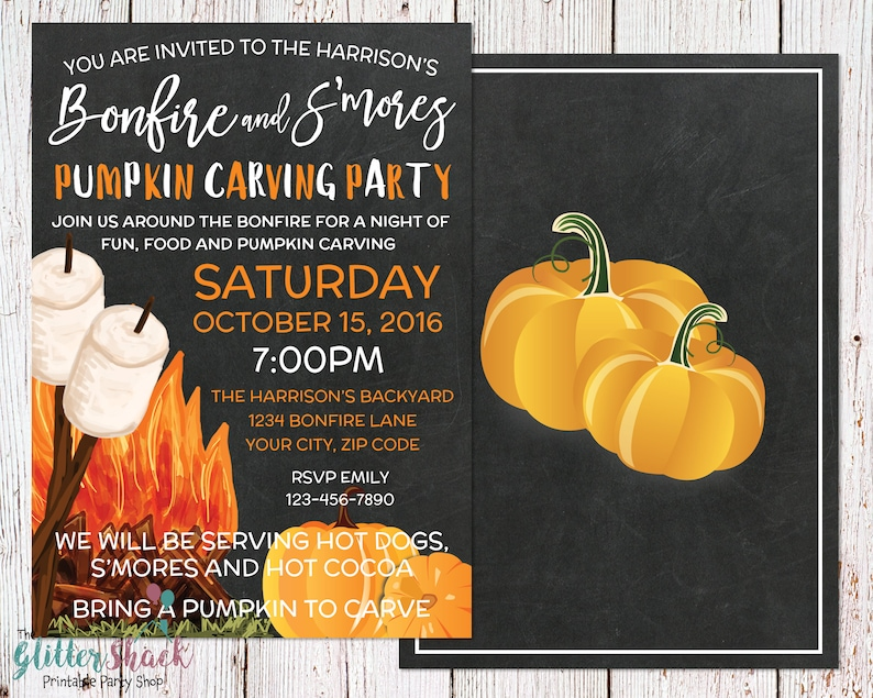 Pumpkin Carving Party Invitation S'mores & Bonfire image 0