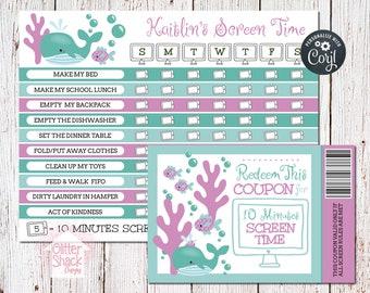 PRINTABLE Screen Time Chart, Screen Time Reward Chart, Screen Time Coupons, Screen Time Reward Coupons, Weekly Chore Chart EDITABLE PDF File
