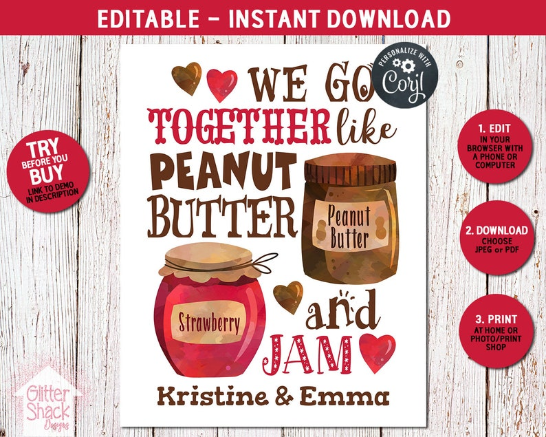 Peanut Butter And Jam Personalized Sign Makes A Cute Tween image 0