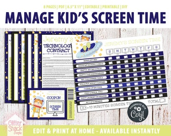 EDITABLE Screen Time Chart, Kids Weekly Reward Chart PRINTABLE, Reward Coupons, Internet Contract, Password Keeper, Screen Time Rules, Space